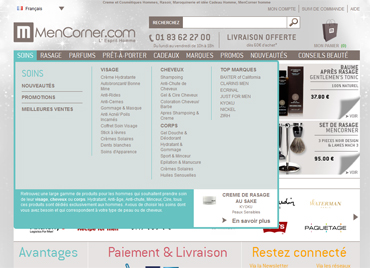 Mencorner menu XL e-commerce