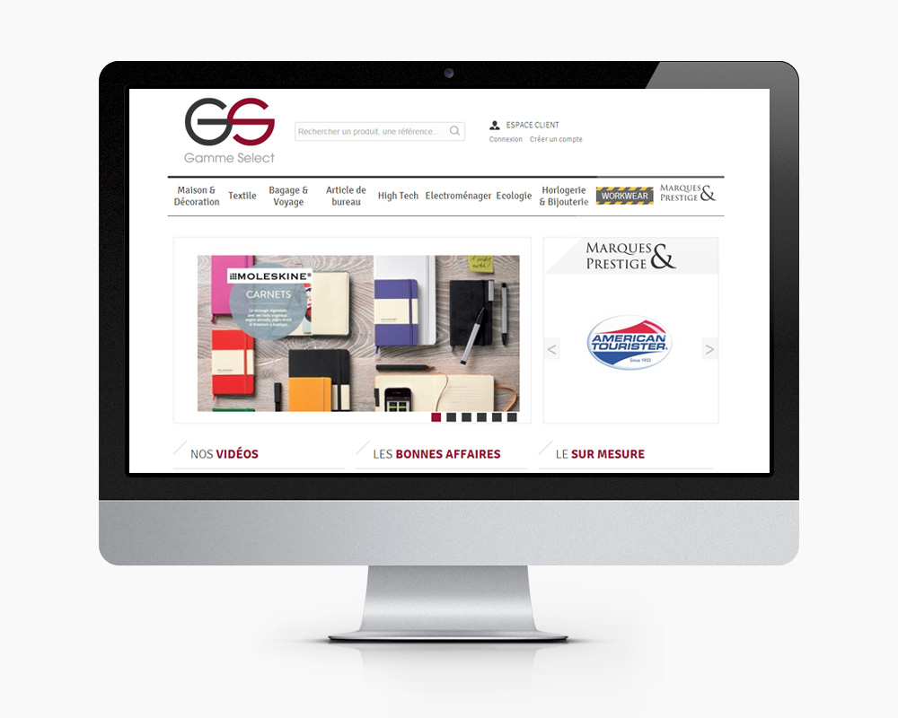 Site e commerce Gamme Select accueil