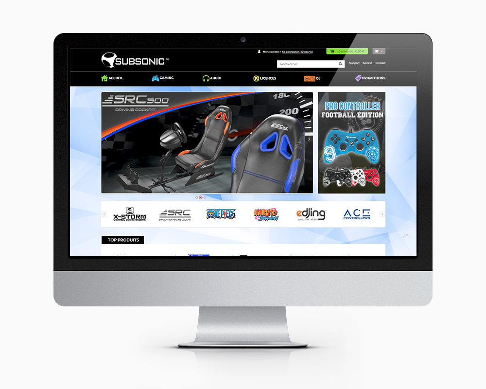 subsonic accueil site e commerce game