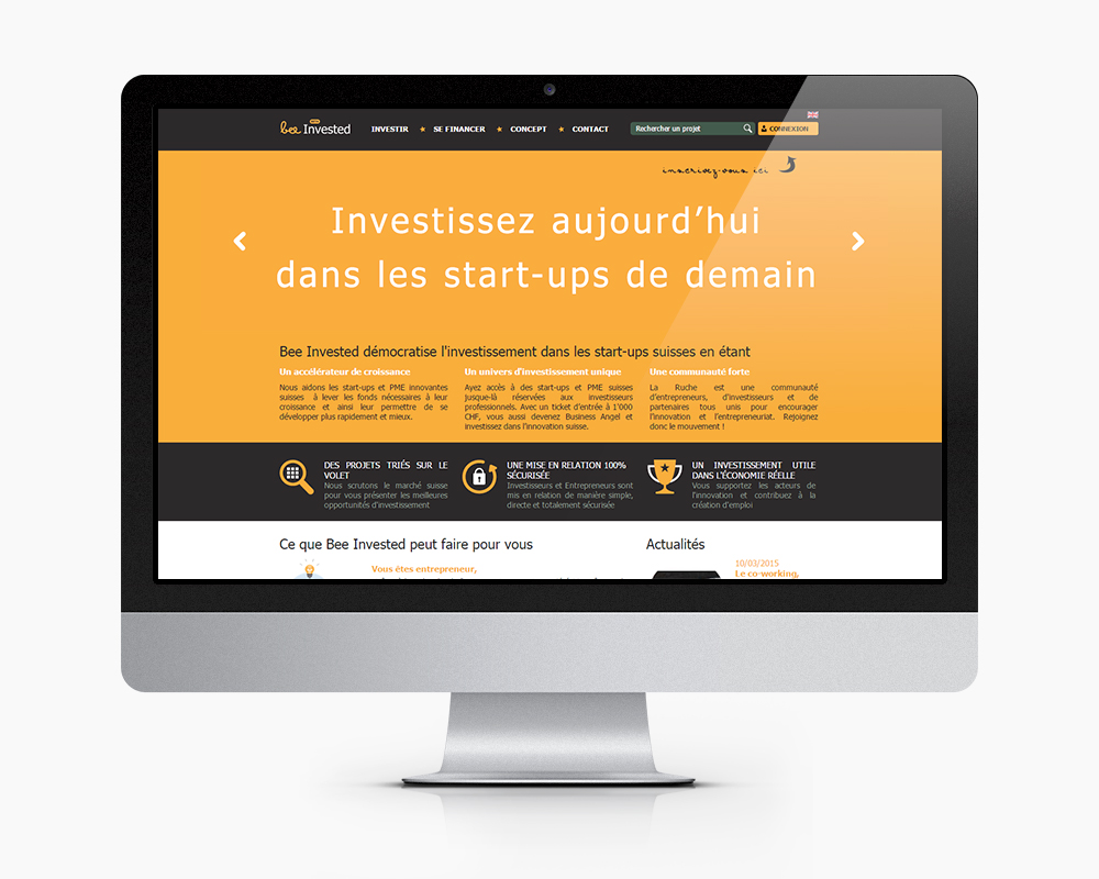 Page d'acceuil Bee Invested refonte site internet, site e commerce